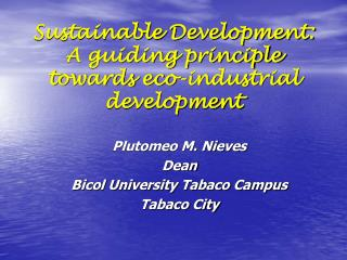 Sustainable Development: A guiding principle towards eco-industrial development