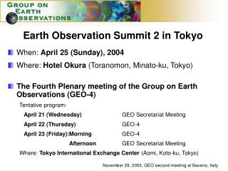 Earth Observation Summit 2 in Tokyo