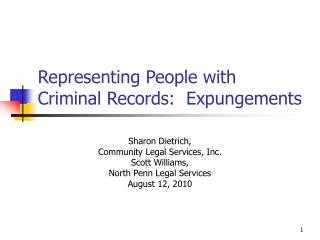 Representing People with Criminal Records:  Expungements