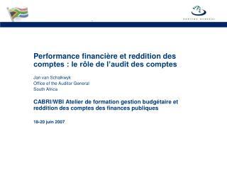 Performance financi � re et reddition des comptes : le r�le de l�audit des comptes