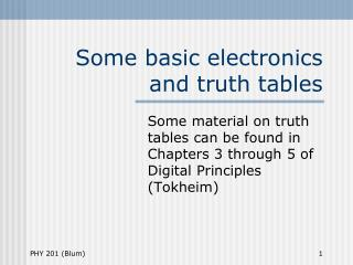 Some basic electronics and truth tables