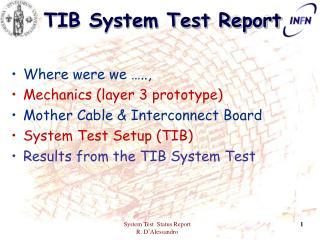 TIB System Test Report