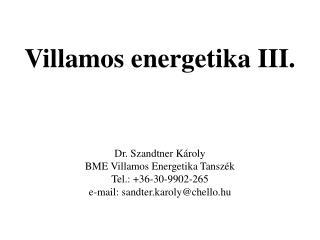 Villamos energetika III.