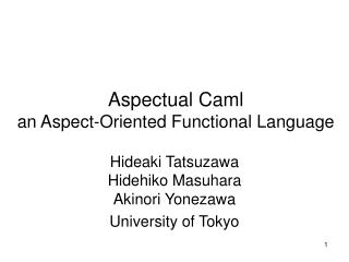 Aspectual Caml an Aspect-Oriented Functional Language