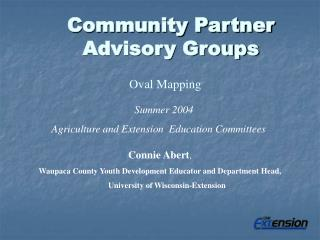 Community Partner  Advisory Groups