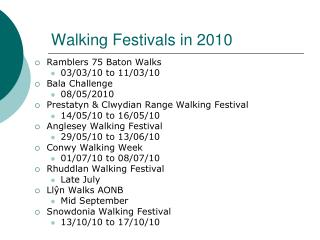 Walking Festivals in 2010