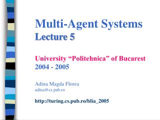 Agent Oriented Programming Lecture outline