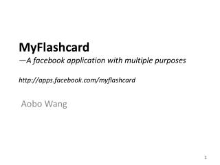MyFlashcard —A  facebook  application with multiple purposes apps.facebook/myflashcard