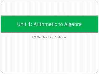 Unit 1: Arithmetic to Algebra