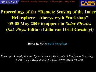 Remote Sensing Workshop – Aberystwyth – May 2009
