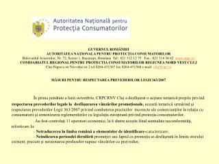GUVERNUL ROMÂNIEI AUTORITATEA NAŢIONALA PENTRU PROTECŢIA CONSUMATORILOR
