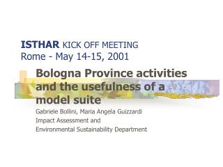 ISTHAR KICK OFF MEETING  Rome - May 14-15, 2001