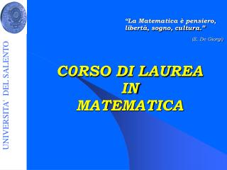 C0RSO DI LAUREA  IN  MATEMATICA