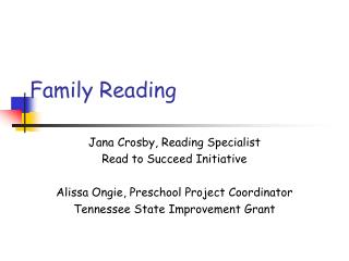 Reading Aloud To Children - Modified for Parents