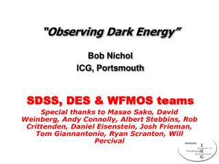 """Observing Dark Energy"""