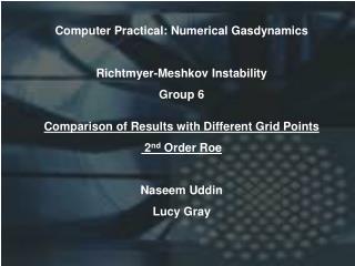 Computer Practical: Numerical Gasdynamics Richtmyer-Meshkov Instability Group 6