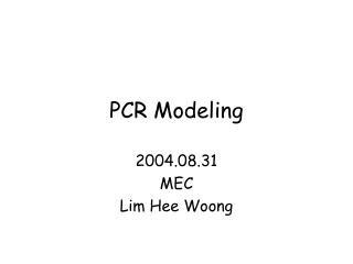PCR Modeling