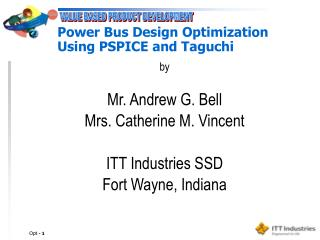 Power Bus Design Optimization  Using PSPICE and Taguchi