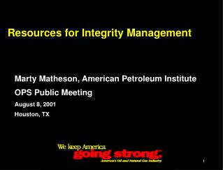 Resources for Integrity Management