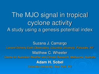 The MJO signal in tropical cyclone activity  A study using a genesis potential index