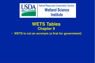 WETS Tables Chapter 9