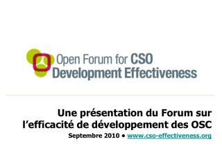 Une présentation du Forum sur l'efficacité de développement des OSC
