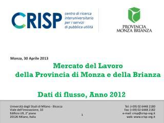 Mercato del Lavoro della Provincia di Monza e della Brianza