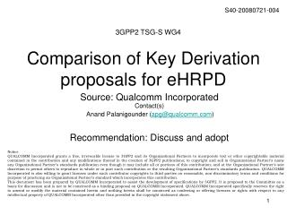 Comparison of Key Derivation proposals for eHRPD