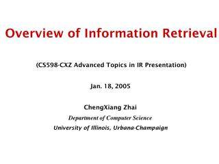 Overview of Information Retrieval