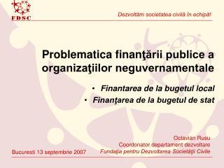 Problematica finan ţării publice a organizaţiilor neguvernamentale