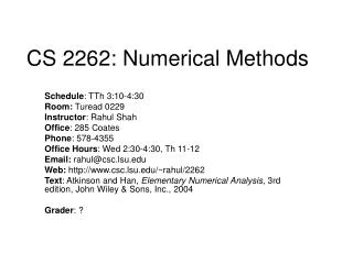 CS 2262: Numerical Methods
