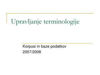 Upravljanje terminologije