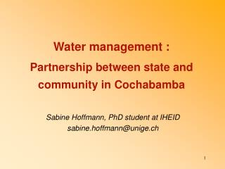 Water management :  Partnership between state and community in Cochabamba
