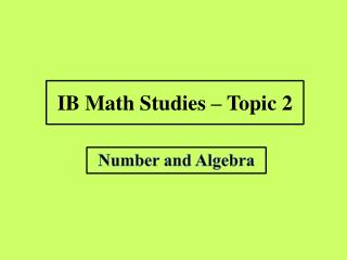 IB Math Studies – Topic 2