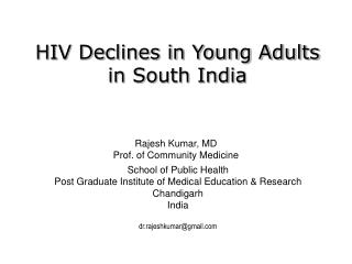 HIV Declines in Young Adults in South India