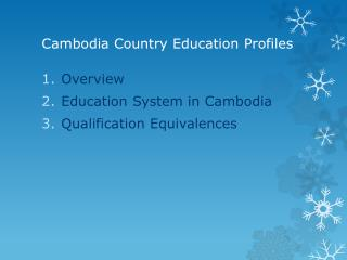 Cambodia Country Education Profiles