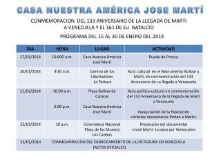 CONMEMORACION  DEL 133 ANIVERSARIO DE LA LLEGADA DE MARTI  A VENEZUELA Y EL 161 DE SU  NATALCIO