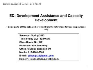 Economic Development  <Lecture Note 6> 13.5.10