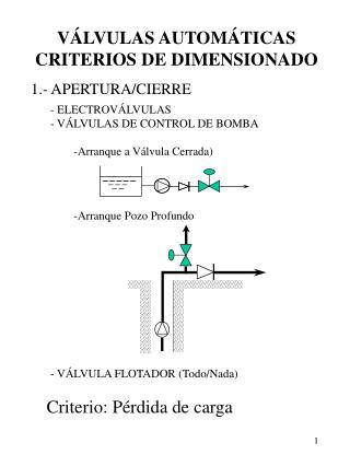 VÁLVULAS AUTOMÁTICAS CRITERIOS DE DIMENSIONADO