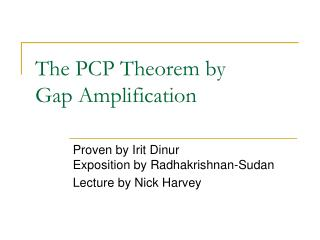 The PCP Theorem by Gap Amplification