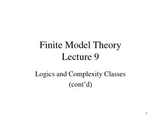 Finite Model Theory Lecture 9