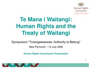 Te Mana i Waitangi: Human Rights and the Treaty of Waitangi