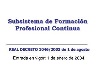 Subsistema de Formación Profesional Continua