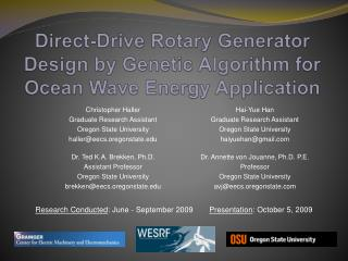 Direct-Drive Rotary Generator Design by Genetic Algorithm for Ocean Wave Energy Application