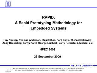 RAPID: A Rapid Prototyping Methodology for Embedded Systems