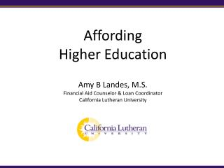 Affording  Higher Education