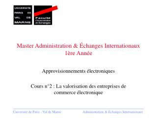 Master Administration & Échanges Internationaux 1ère Année