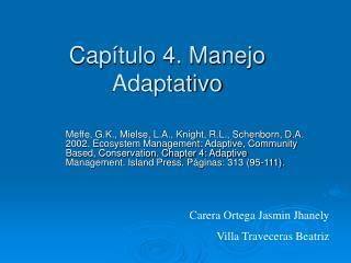 Capítulo 4. Manejo Adaptativo
