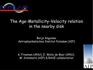 The Age-Metallicity-Velocity relation in the nearby disk