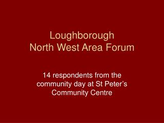 Loughborough North West Area Forum